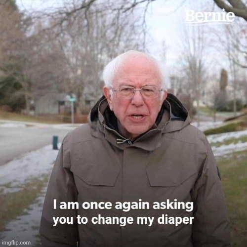 Photo caption - Bernie Iam once again asking you to change my diaper imgflip.com
