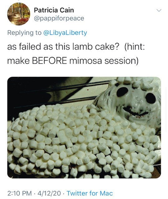 Text - Patricia Cain @pappiforpeace Replying to @LibyaLiberty as failed as this lamb cake? (hint: make BEFORE mimosa session) 2:10 PM 4/12/20 Twitter for Mac