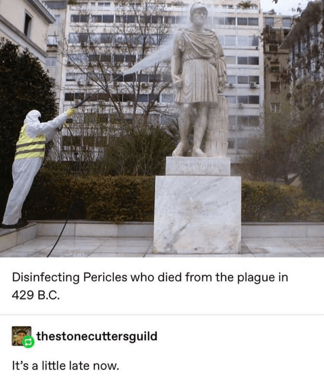 Statue - Disinfecting Pericles who died from the plague in 429 B.C. thestonecuttersguild It's a little late now.