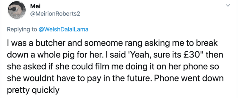 """Text - Mei @MeirionRoberts2 Replying to @WelshDalaiLama I was a butcher and someome rang asking me to break down a whole pig for her. I said 'Yeah, sure its £30"""" then she asked if she could film me doing it on her phone so she wouldnt have to pay in the future. Phone went down pretty quickly"""