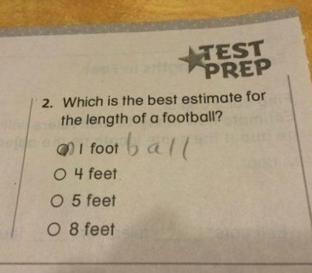 Text - TEST rtt PREP 2. Which is the best estimate for the length of a football? QI foot b all O 4 feet O 5 feet O 8 feet