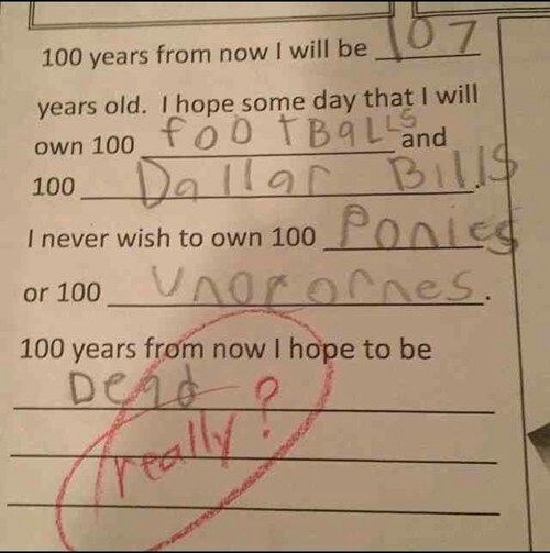 Text - 167 100 years from now I will be years old. I hope some day that I will foo TBáLand own 100 Dallar Bills 100 Ponies I never wish to own 100 or 100 Vnorornes. 100 years from now I hope to be Dead