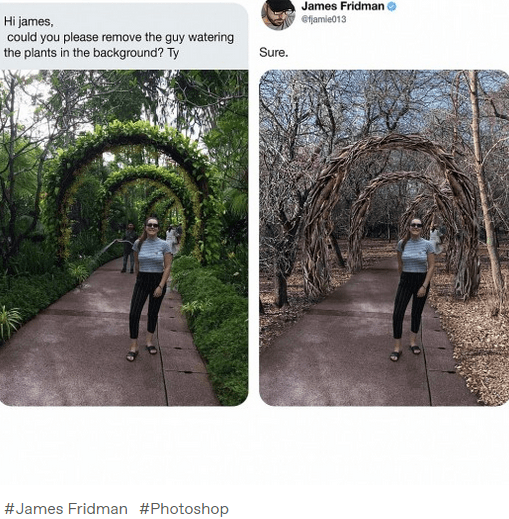 Trail - James Fridman Hi james, could you please remove the guy watering the plants in the background? Ty efjamie013 Sure. #James Fridman #Photoshop