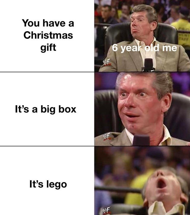 Facial expression - You have a Christmas gift 6 yeak old me It's a big box It's lego WF