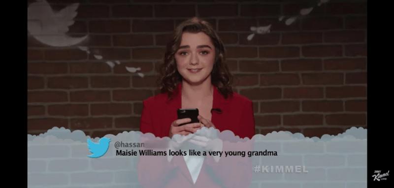 Photograph - @hassan Maisie Williams looks like a very young grandma #KIMMEL Kimmel