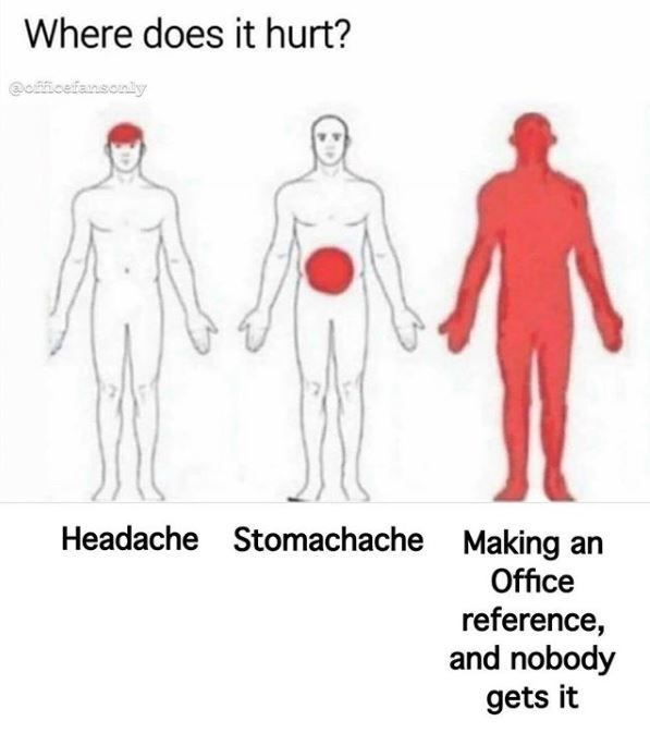 Standing - Where does it hurt? @officefansonly Headache Stomachache Making an Office reference, and nobody gets it