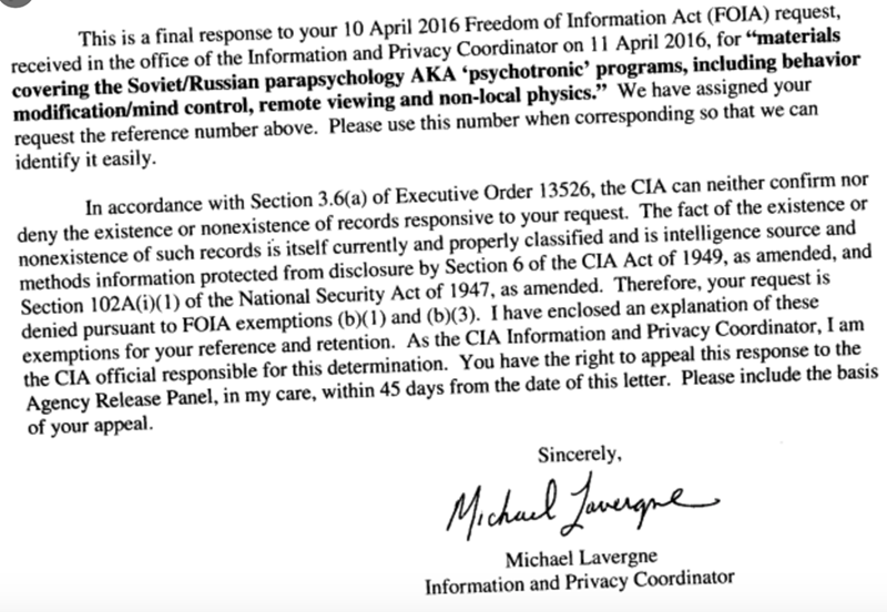 """Text - This is a final response to your 10 April 2016 Freedom of Information Act (FOIA) request, received in the office of the Information and Privacy Coordinator on 11 April 2016, for """"materials covering the Soviet/Russian parapsychology AKA ʻpsychotronic' programs, including behavior modification/mind control, remote viewing and non-local physics."""" We have assigned your request the reference number above. Please use this number when corresponding so that we can identify it easily. In accordanc"""