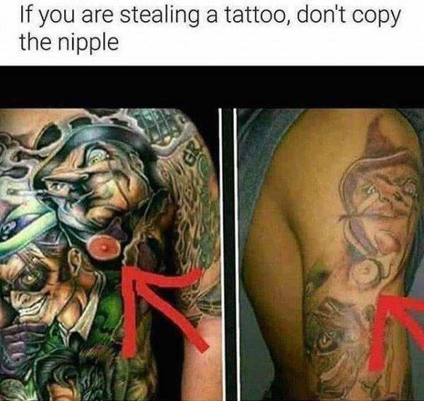 Tattoo - If you are stealing a tattoo, don't copy the nipple