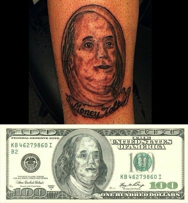 Tattoo - oney FEDERAL RESERVIG NOTE KB 46279860 I UNTNEDSTATES OFAMER CA B2 INITED STATES KB 4627986O I THIS NOTE IS LEGAL TENOER FOR ALL DEBTS. PUBLIC AND PRIVATE G: Tmaer of e i Stu SERES 200e Gaos Sretyfe Trny. ONE HUNDRED DOLLARS RANKLIN