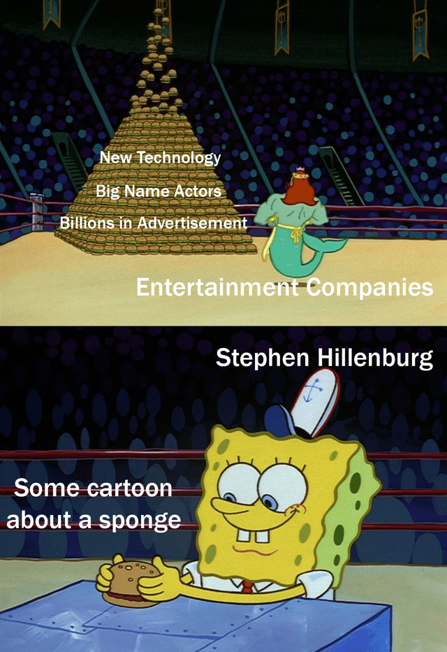 Cartoon - New Technology Big Name Actors Billions in Advertisement Entertainment Companies Stephen Hillenburg Some cartoon about a sponge