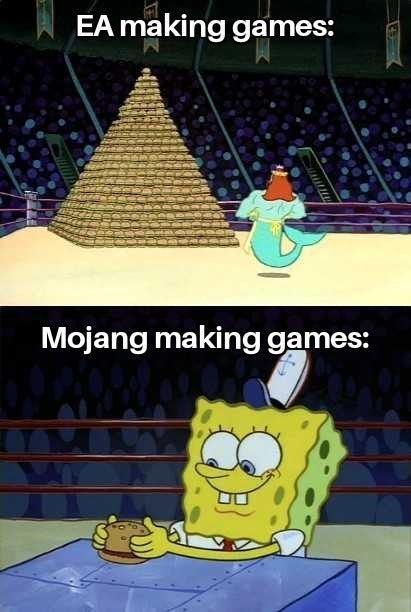 Cartoon - EA making games: Mojang making games:
