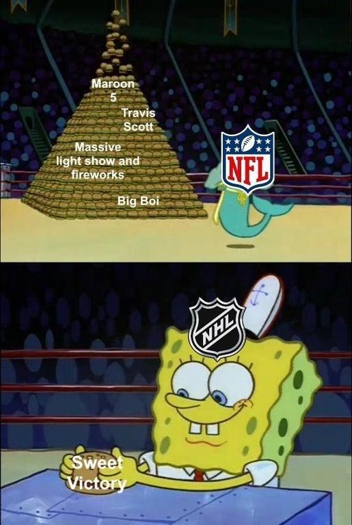 Cartoon - Maroon Travis Scott Massive light show and fireworks NFL Big Boi NHL SSweet Victory