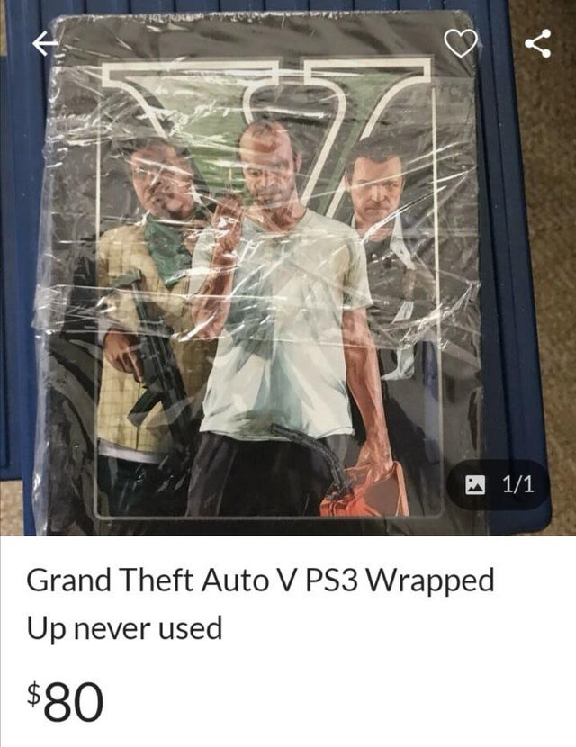 Photography - A 1/1 Grand Theft Auto V PS3 Wrapped Up never used $80