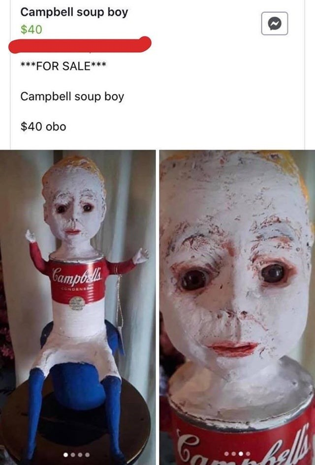Face - Campbell soup boy $40 ***FOR SALE*** Campbell soup boy $40 obo Campo CONDENE fell