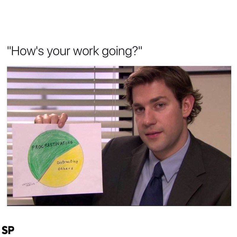 """Text - """"How's your work going?"""" PROCRASTINATING Distracting others SP"""