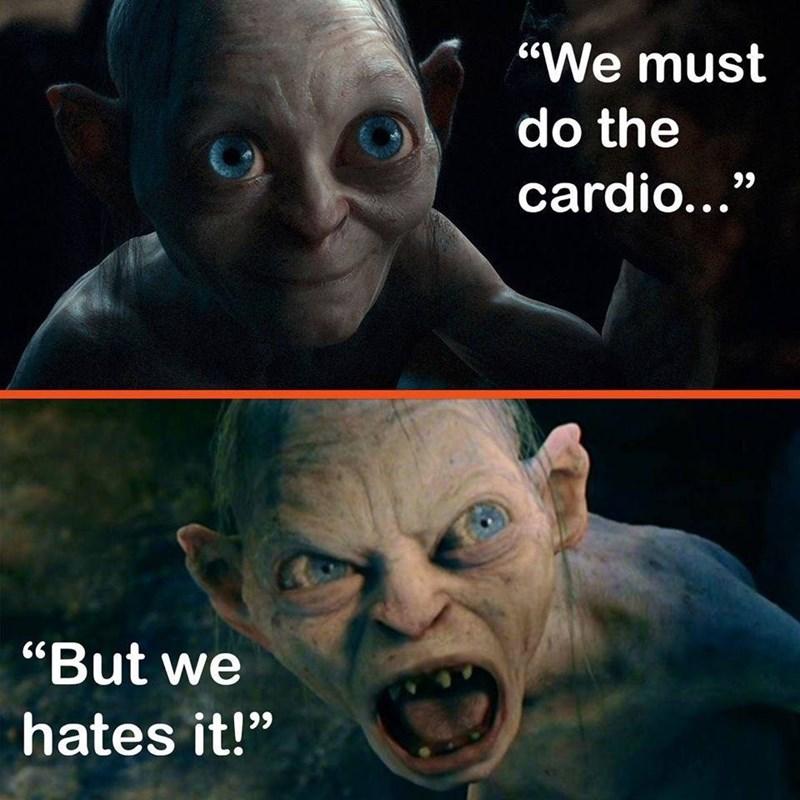 """Facial expression - """"We must do the cardio..."""" """"But we hates it!"""""""