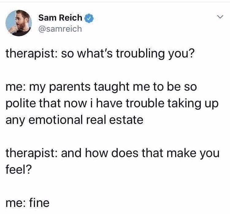 Text - Sam Reich @samreich therapist: so what's troubling you? me: my parents taught me to be so polite that now i have trouble taking up any emotional real estate therapist: and how does that make you feel? me: fine