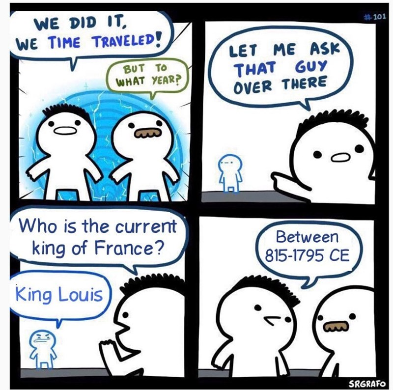 Cartoon - WE DID IT, WE TIME TRAVELED! #101 LET ME ASK THAT GUY OVER THERE BUT TO WHAT YEAR? Who is the current king of France? Between 815-1795 CE King Louis SRGRAFO