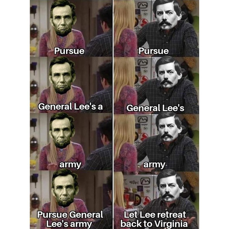 People - Pursue Pursue General Lee's a General Lee's army army Pursue General Lee's army Let Lee retreat back to Virginia