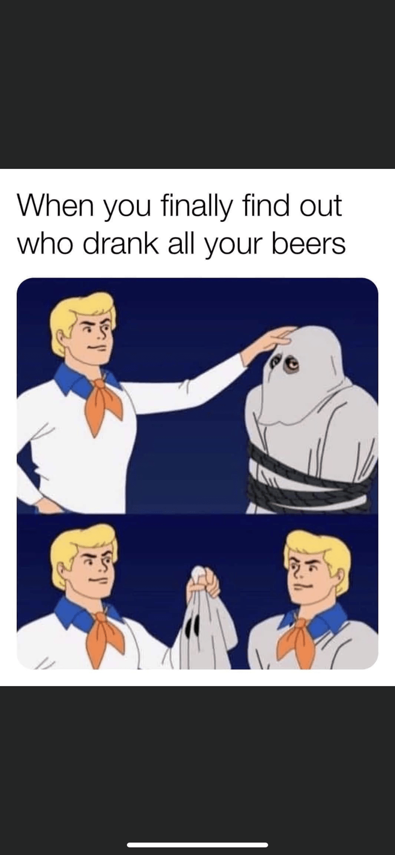 Cartoon - When you finally find out who drank all your beers
