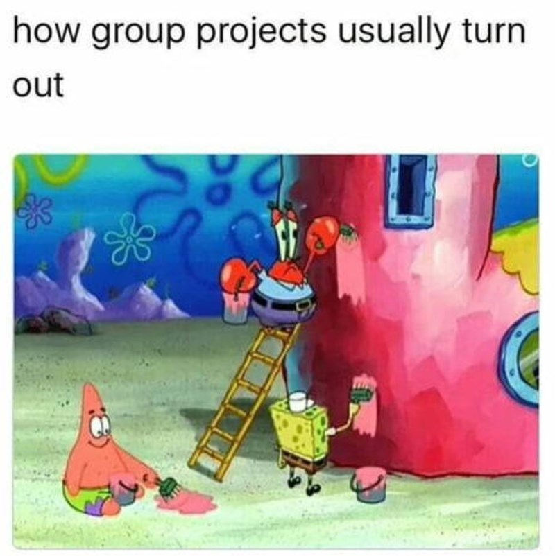Cartoon - how group projects usually turn out