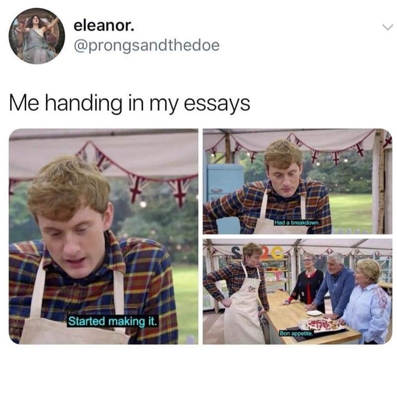 Human - eleanor. @prongsandthedoe Me handing in my essays Had a breakdown. Started making it. Bon appetite.