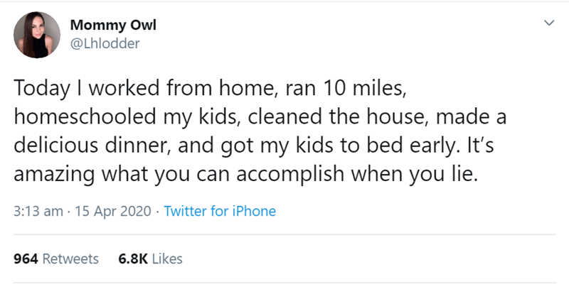 Text - Mommy Owl @Lhlodder Today I worked from home, ran 10 miles, homeschooled my kids, cleaned the house, made a delicious dinner, and got my kids to bed early. It's amazing what you can accomplish when you lie. 3:13 am · 15 Apr 2020 · Twitter for iPhone 964 Retweets 6.8K Likes