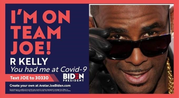 Eyewear - I'M ON TEAM JOE! R KELLY You had me at Covid-9 BID N PRESIDENT Text JOE to 30330 Create your own at Avatar.JoeBiden.com