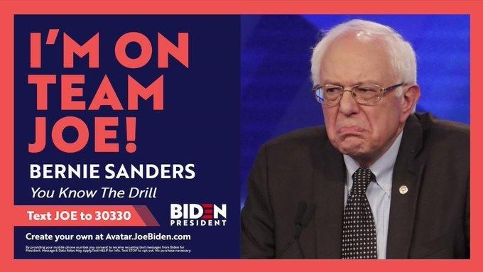 News - I'M ON TEAM JOE! BERNIE SANDERS You Know The Drill Text JOE to 30330 BID N PRESIDENT Create your own at Avatar.JoeBiden.com phine neary