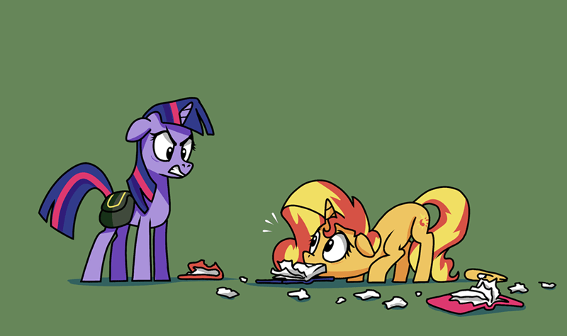 twilight sparkle doc wario sunset shimmer acting like animals - 9472881664