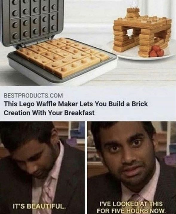 Food - BESTPRODUCTS.COM This Lego Waffle Maker Lets You Build a Brick Creation With Your Breakfast I'VE LOOKED AT THIS FOR FIVE HOURS NOW. IT'S BEAUTIFUL.