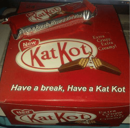 Food - New KatKop Pave a breakk Have akatRe New KatKot Extra Crispy Extra Creamy! Have a break, Have a Kat Kot New KatKoDS ExtrL Crispy Extra Croa ny!