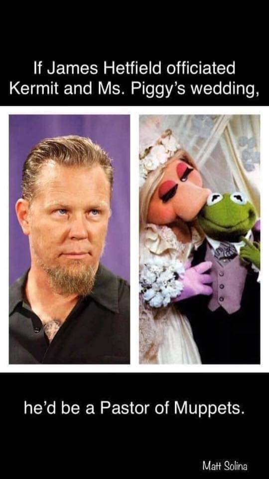 Photo caption - If James Hetfield officiated Kermit and Ms. Piggy's wedding, he'd be a Pastor of Muppets. Matt Solina