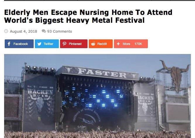 Vehicle - Elderly Men Escape Nursing Home To Attend World's Biggest Heavy Metal Festival August 4, 2018 93 Comments f Facebook P Pinterest O Reddit + More 170K Twitter T FASTER T WACKEN 7ACKEN