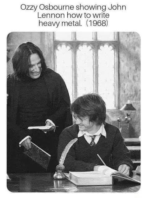 Ozzy Osbourne showing John Lennon how to write heavy metal. (1968)