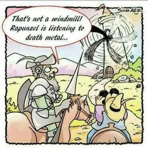 Cartoon - Sinan ARIR That's not a windmill! Rapunzel is listening to death metal...