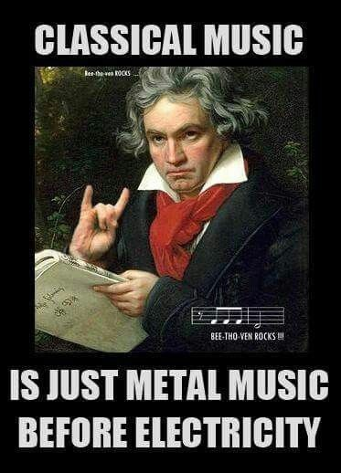 Poster - CLASSICAL MUSIC Ber he ven ROCKS BEE-THO VEN ROCKS HI IS JUST METAL MUSIC BEFORE ELECTRICITY