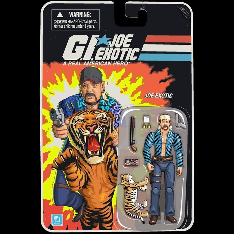 """Mobile phone case - WARNING: CHOKING HAZARD-Small parts. Not for children under 3 years. Glat VDE EHOTIC A REAL AMERICAN HERO"""" JOE EXOTIC JPI"""