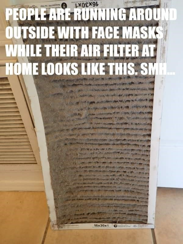 Text - PEOPLE ARE RUNNING AROUND OUTSIDE WITH FACE MASKS WHILE THEIR AIR FILTER AT HOME LOOKS LIKE THIS. SMH. 16x30x1 16x30x1