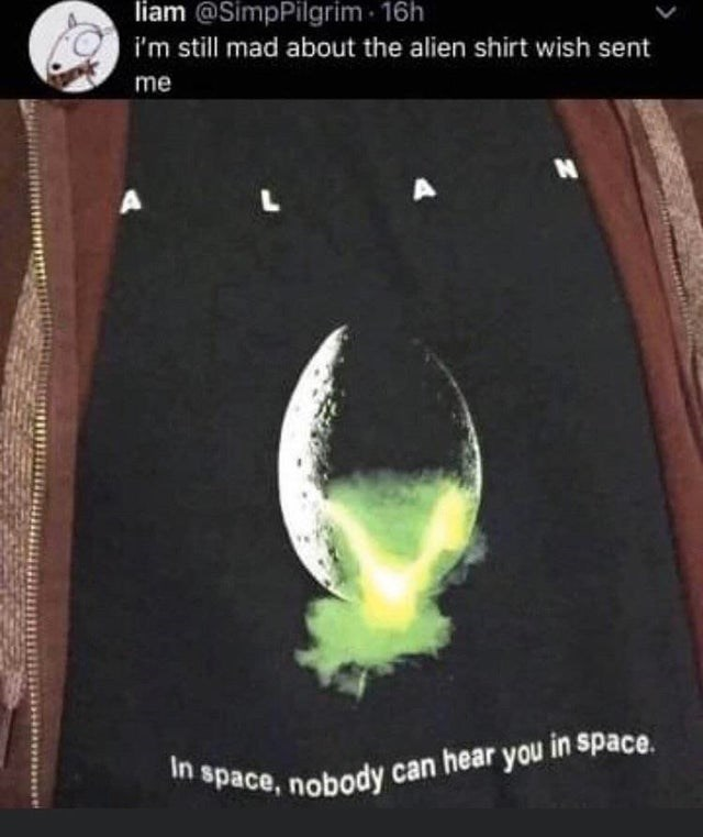 Font - liam @SimpPilgrim · 16h i'm still mad about the alien shirt wish sent me In space, nobody can hear you