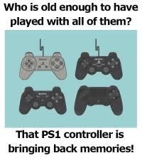 Home game console accessory - Who is old enough to have played with all of them? That PS1 controller is bringing back memories!
