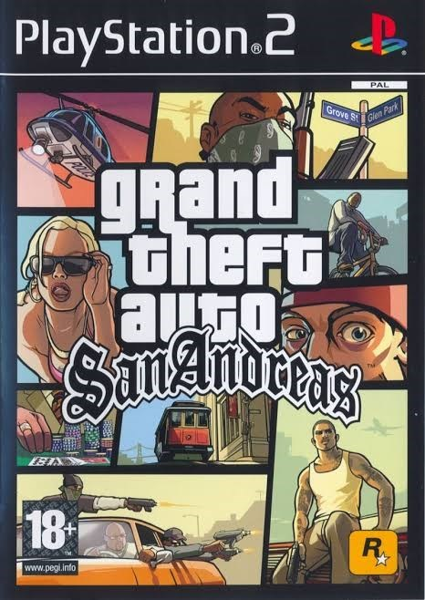 Pc game - PlayStation.2 PAL Grove Sti Gien Park grand theFt auto Amoceag SanAnoreas 18 R. www.pegi.info