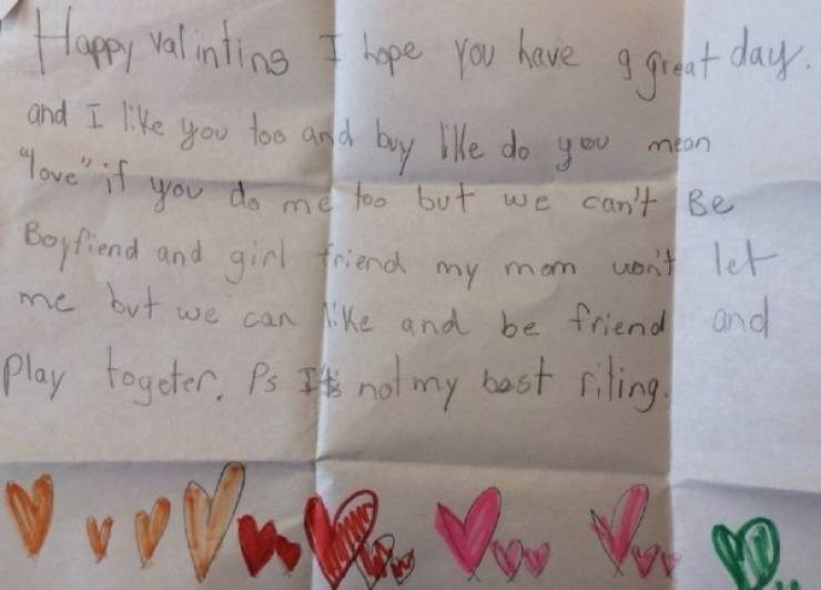 "Handwriting - Happy valinting I hope you have g grant day. and I like you too and buy le do you ""Tove if you mean you do me ne foo but we can't Be Boyfiend and girl but. l friend my mom Uon't let me we can Ke and be friend and Play togeter, Ps not my bost riling"