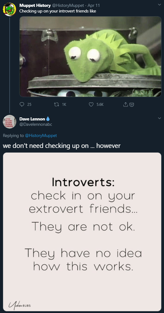 Screenshot - Muppet History @HistoryMuppet · Apr 11 Checking up on your introvert friends like O 25 O 5.6K Dave Lennon @Davelennonabc Replying to @HistoryMuppet we don't need checking up on .. however Introverts: check in on your extrovert friends. They are not ok. They have no idea how this works.