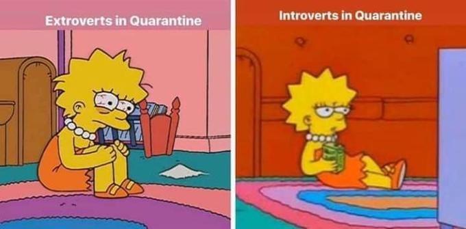 Cartoon - Introverts in Quarantine Extroverts in Quarantine