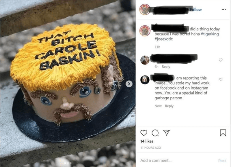 Yellow - Follow THAT BITCH CAROLE BASKIN! did a thing today because I was bored haha #tigerking #joeexotic 11h 6h Reply I am reporting this image. You stole my hard work on facebook and on Instagram now.You are a special kind of garbage person Now Reply 14 likes 11 HOURS AGO Add a comment.. Post