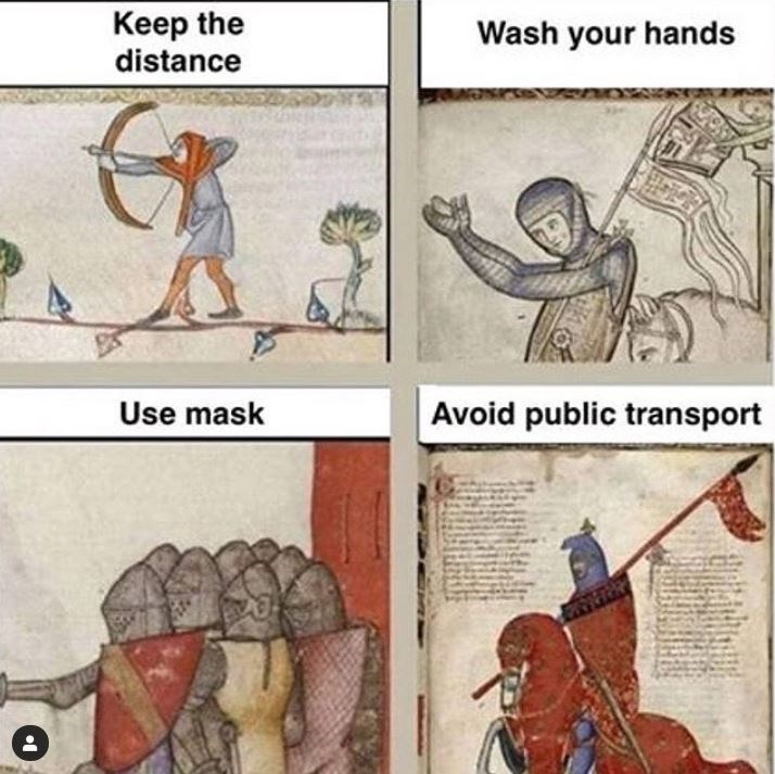 Cartoon - Keep the distance Wash your hands Use mask Avoid public transport