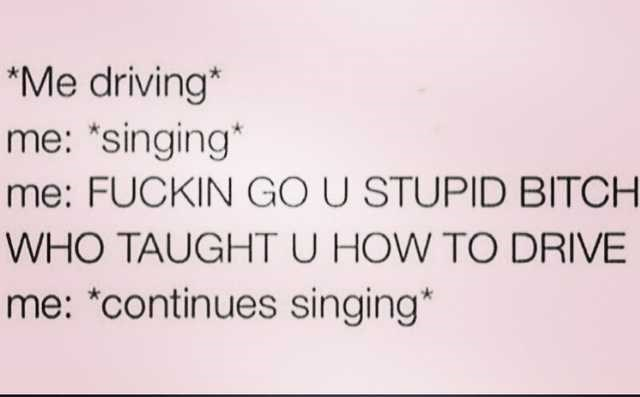 "Text - *Me driving* me: *singing"" me: FUCKIN GO U STUPID BITCH WHO TAUGHT U HOW TO DRIVE me: *continues singing*"
