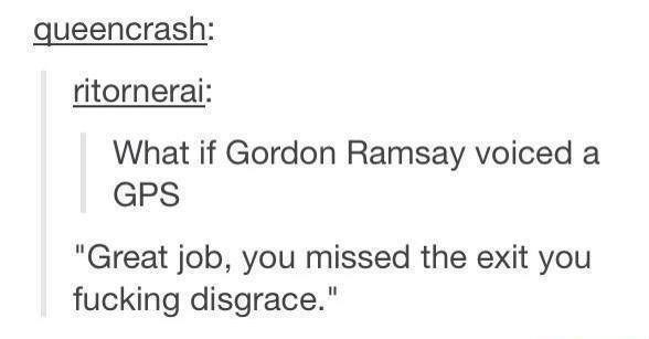 "Text - queencrash: ritornerai: What if Gordon Ramsay voiced a GPS ""Great job, you missed the exit you fucking disgrace."""