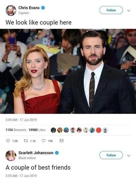 Product - Chris Evans Follow Captain We look like couple here 3:49 AM - 17 Jun 2019 1154 Retweets 19980 Likes O 7.0K t3 1.1K O 19K Scarlett Johansson Follow Black widow A couple of best friends 3:55 AM - 17 Jun 2019